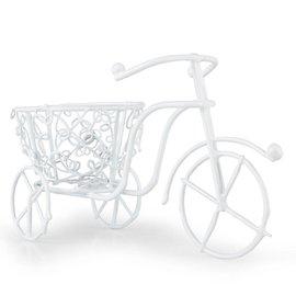 BASTELSETS / CRAFT KITS Mini jardín, alambre de bicicleta hecho a mano, 10 x 7 cm, blanco.