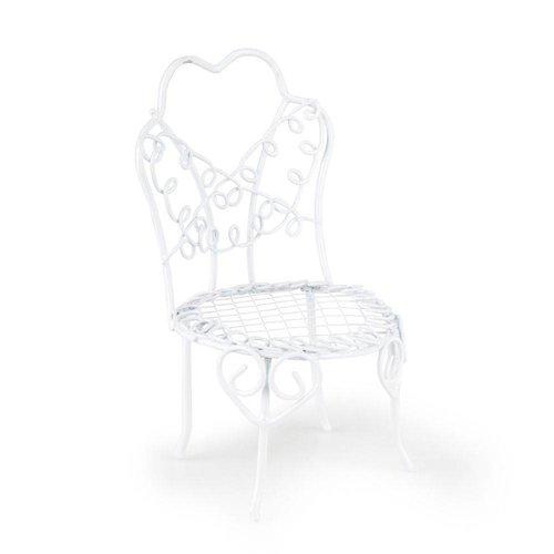 BASTELSETS / CRAFT KITS Mini Garden, Vintage Style, chaise en fil de fer fait main, D = 6 x 10 cm, blanc