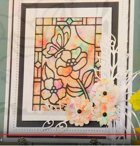 """eine hübsche Karte mit """"Glasmalerei / Stained glas""""  Stanzschablone und einen tollen Technik"""