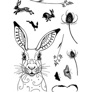 Stempel / Stamp: Transparent Stempel, A5, met konijntjesmotieven