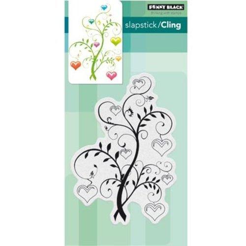 Penny Black Stempelmotief, bloeiende harten in een boom.