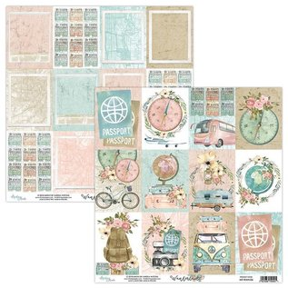 """Karten und Scrapbooking Papier, Papier blöcke Mintay, Karten- und Scrapbook Papierblock, Format 15,2 x 15,2 cm, """"Wanderlust"""""""