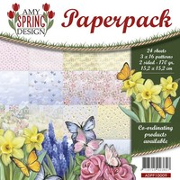 Card and scrapbook paper block, size 15.2 x 15.2 cm, spring