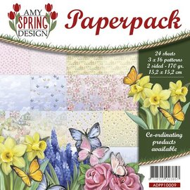 AMY DESIGN Card and scrapbook paper block, size 15.2 x 15.2 cm, spring