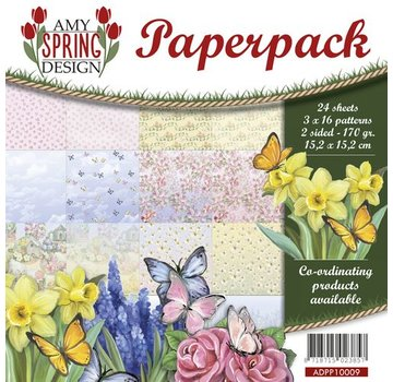 AMY DESIGN Kort og scrapbog papirblok, størrelse 15.2 x 15.2 cm, forår