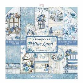 """Stamperia Kort og scrapbog papirblok, størrelse 30,5 x 30,5 cm, """"Blue Land"""""""
