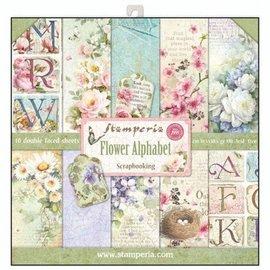 """Stamperia Karten- und Scrapbook Papierblock,  """"Flower Alphabet"""" Stamperia"""