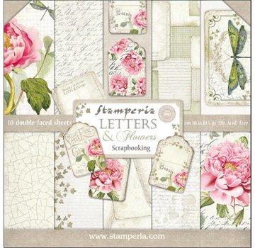 """Stamperia Karten- und Scrapbook Papierblock, """"Letters & Flowers""""  Stamperia"""