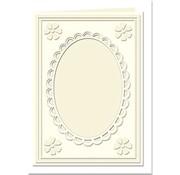 KARTEN und Zubehör / Cards Passepartout cards Mini with oval neckline and lace edge, cream