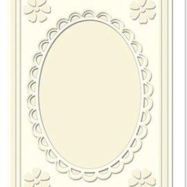 KARTEN und Zubehör / Cards Carte passepartout Mini con scollatura ovale e bordo in pizzo, color crema