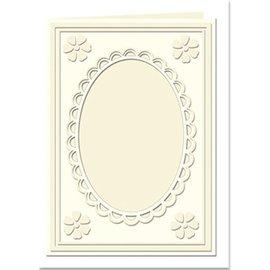 KARTEN und Zubehör / Cards Passepartout kort Mini med oval hals og blonder kant, creme