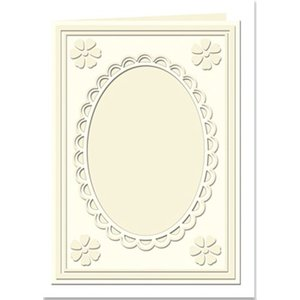 KARTEN und Zubehör / Cards Passepartout cards Mini with oval neckline and lace edge, cream