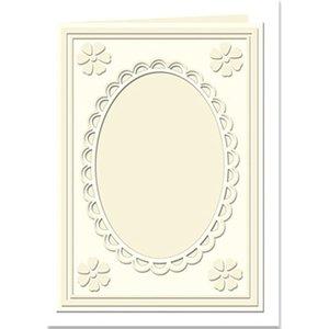 KARTEN und Zubehör / Cards Passepartoutkarten Mini mit ovalem Ausschnitt und Spitzenrand, creme
