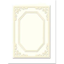 KARTEN und Zubehör / Cards Tarjetas passepartout Mini con escote octagonal, tamaño A8, crema