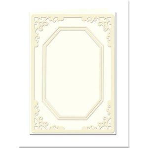 KARTEN und Zubehör / Cards Passepartout kort Mini med ottekantet hals, størrelse A8, creme