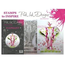 CREATIVE EXPRESSIONS und COUTURE CREATIONS Diseños de tinta rosada: ¡Conjunto de elefante, sello A5, para diseñar por 3D Scene!