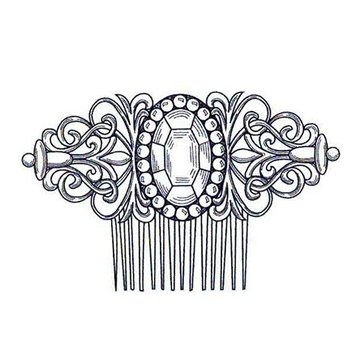 CREATIVE EXPRESSIONS und COUTURE CREATIONS Stamped motif, vintage comb