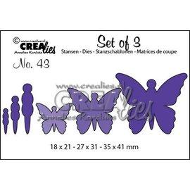 Crealies und CraftEmotions Stanzschablonen, 3 Schmetterlinge