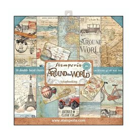 "Stamperia Kaart- en scrapbook blok, afmeting 30,5 x 30,5 cm, ""Around the World"""