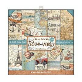 """Stamperia Kort og scrapbog papirblok, størrelse 30,5 x 30,5 cm, """"Rundt om verden"""""""