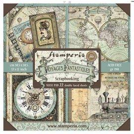 """Stamperia Kort og scrapbog papirblok, størrelse 30,5 x 30,5 cm, """"Voyages Fantastiques"""" Maxi Paper Pack"""
