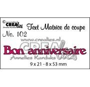 """Crealies und CraftEmotions Stanzschablonen, französische Text  """"Bon anniversaire"""""""