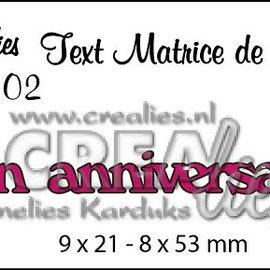 """Crealies und CraftEmotions Matrices de découpe, Texte français """"Bon anniversaire"""""""
