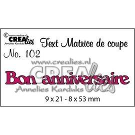 """Crealies und CraftEmotions Cutting dies, Fransk tekst """"Bon anniversaire"""""""