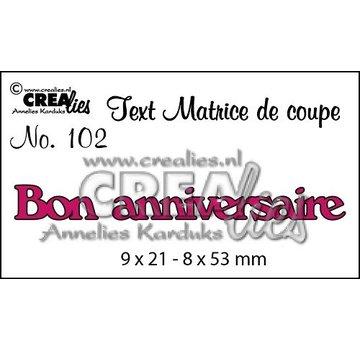 "Crealies und CraftEmotions cutting dies,  French text ""Bon anniversaire"""