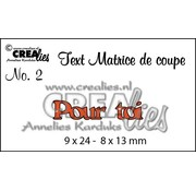 """Crealies und CraftEmotions cutting dies,  French text """"Pour toi"""""""