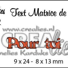 """Crealies und CraftEmotions Matrices de découpe, Texte français """"Pour toi"""""""