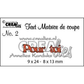 """Crealies und CraftEmotions Plantillas de corte, Texto francés """"Pour toi"""""""