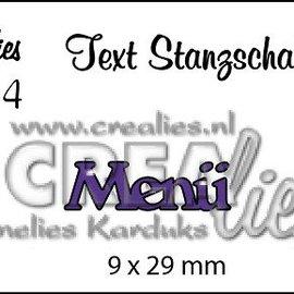 """Crealies und CraftEmotions Cutting dies,  tekst DE  """"Menü"""""""