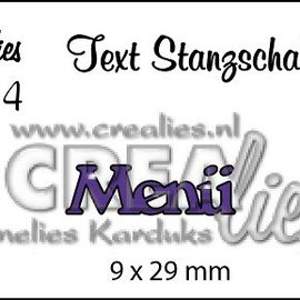 """Crealies und CraftEmotions Plantillas de corte, Texto DE  """"Menü"""""""