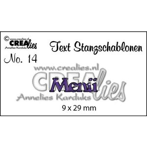 """Crealies und CraftEmotions Stanzschablonen,  Text DE  """"Menü"""""""