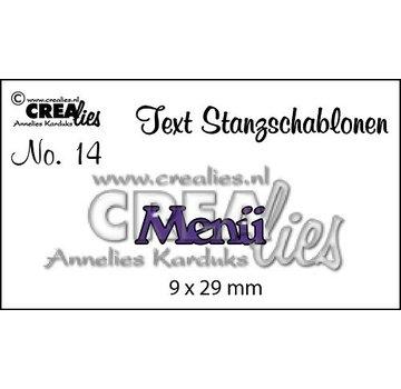 """Crealies und CraftEmotions Snijmallen, Tekst DE  """"Menü"""""""