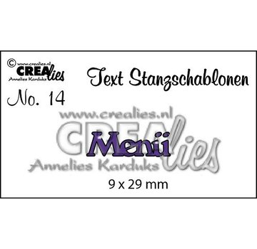 "Crealies und CraftEmotions Stanzschablonen,  Text DE  ""Menü"""