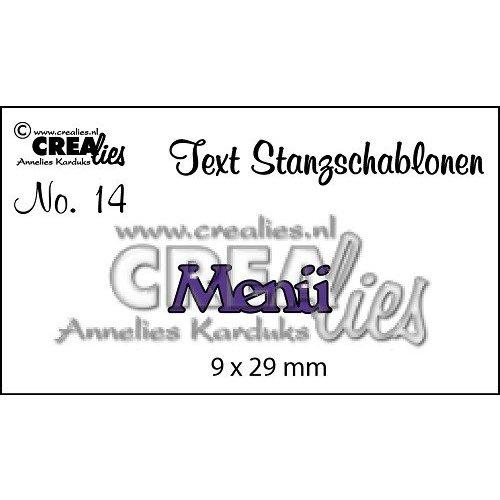 """Crealies und CraftEmotions cutting dies,   text DE  """"Menü"""""""