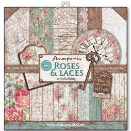"""Stamperia und Florella Bloque de papel para tarjetas y álbumes de recortes, tamaño 30,5 x 30,5 cm, """"Rosas y cordones"""""""