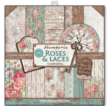 """Stamperia Card and scrapbook paper block, size 30,5 x 30,5 cm, """"Roses & Laces"""""""
