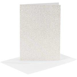 KARTEN und Zubehör / Cards 4 carte e 4 buste, formato carta 10,5x15 cm, formato busta 11,5x16,5 cm, bianco, glitter