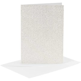 KARTEN und Zubehör / Cards 4 kort og 4 konvolutter, kortstørrelse 10,5x15 cm, kuvertstørrelse 11,5x16,5 cm, hvid, glitter