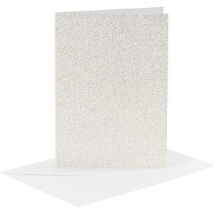 KARTEN und Zubehör / Cards Cards and envelopes, card size 10.5x15 cm, envelope size 11.5x16.5 cm, white, glitter