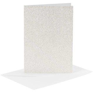 KARTEN und Zubehör / Cards 4 Karten und 4 Kuverts, Kartengröße 10,5x15 cm, Umschlaggröße 11,5x16,5 cm, Weiß, Glitter