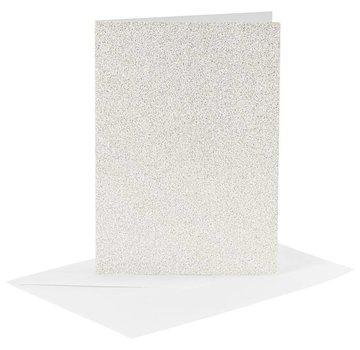 KARTEN und Zubehör / Cards Kort og konvolutter, kortstørrelse 10,5x15 cm, konvolutstørrelse 11,5x16,5 cm, hvid, glitter