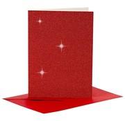 KARTEN und Zubehör / Cards Cards and envelopes, card size 10.5x15 cm, red glitter, with envelopes
