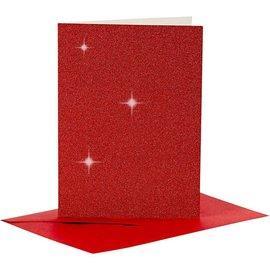 KARTEN und Zubehör / Cards 4 Karten und 4 Kuverts, Kartengröße 10,5x15 cm, rot glitter, mit Umschläge