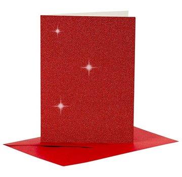 KARTEN und Zubehör / Cards Kort og konvolutter, kortstørrelse 10.5x15 cm, rød glitter, med konvolutter