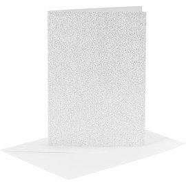 KARTEN und Zubehör / Cards 4 kort og konvolutter, kortstørrelse 10,5x15 cm, sølvglitter, med konvolutter