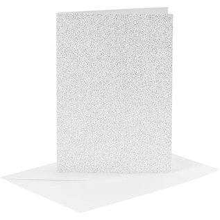 KARTEN und Zubehör / Cards 4 Karten und Kuverts, Kartengröße 10,5x15 cm, silber glitter, mit Umschläge